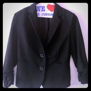Express three-quarter sleeve ruched blazer